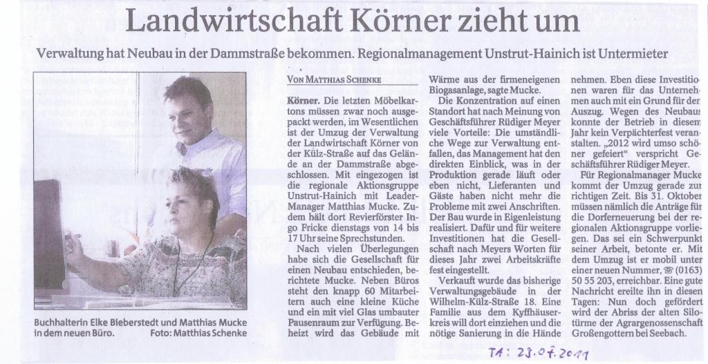 Pressemitteilung Umzug RAG & Landwirtschaft Körner_TA 29.07.2011