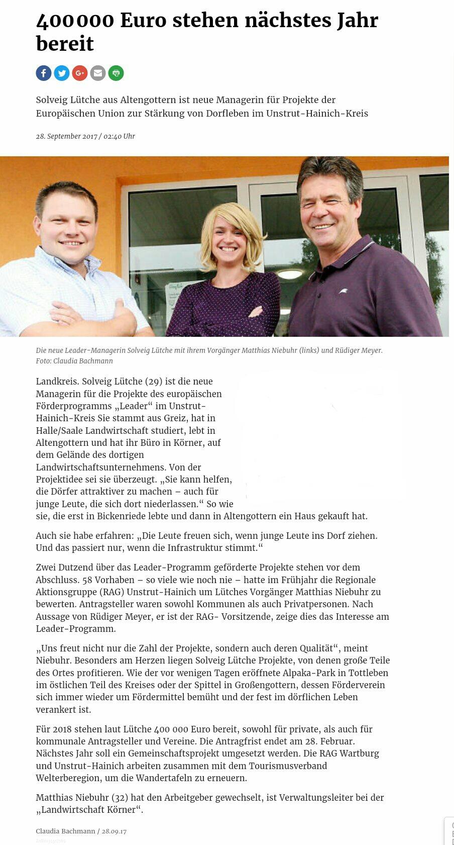 neue LEADER - Regionalmanagerin für den Unstrut - Hainich - Kreis (www.thueringer-allgemeine.de)